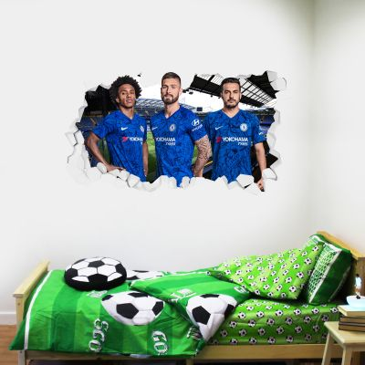 Chelsea Football Club - Attacking Trio Broken Wall Mural + Blues Wall Sticker Set
