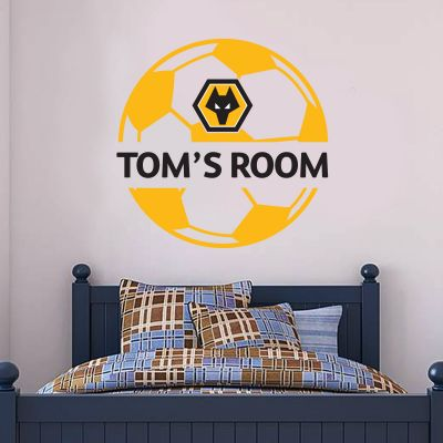Wolverhampton Wanderers F.C. Personalised Name & Ball Design Wall Sticker + Wolves Decal Set