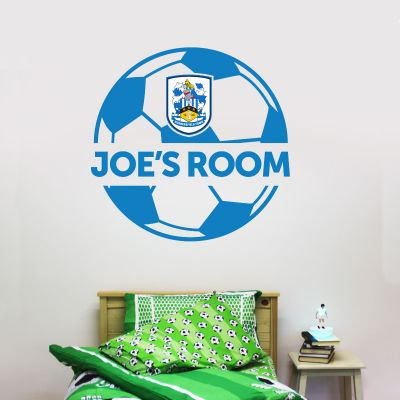 Huddersfield Town Football Club - Ball Design & Personalised Name + Terriers Wall Sticker Set