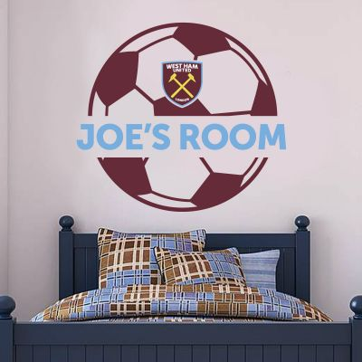 West Ham United Football Club - Personalised Name & Ball + Hammers Wall Sticker Set