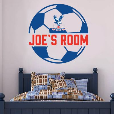 Crystal Palace F.C. Personalised Name & Football Ball Design Wall Sticker