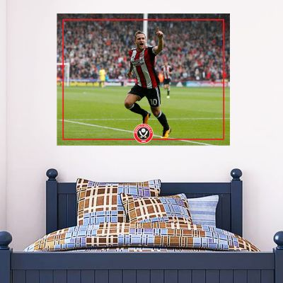 Sheffield United F.C. - Billy Sharp Celebration Mural + Blades Wall Sticker Set