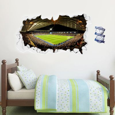 Birmingham City Football Club Smashed Wall Stadium Mural Wall Sticker
