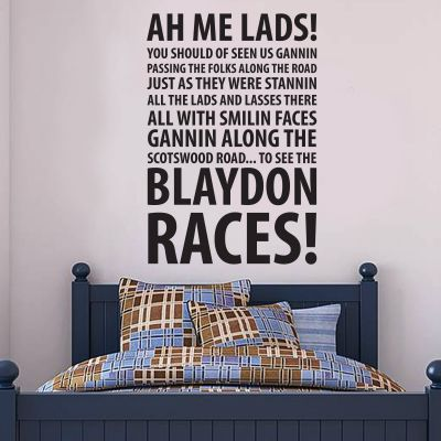 Newcastle United Football Club 'Blaydon Races' Song Decal Wall Sticker