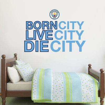 Manchester City Football Club - 'Born, Live, Die City' Wall Decal + Bonus Wall Sticker Set
