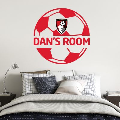 A.F.C Bournemouth - Personalised Name & Ball Design Wall Mural + Cherries Wall Sticker Set