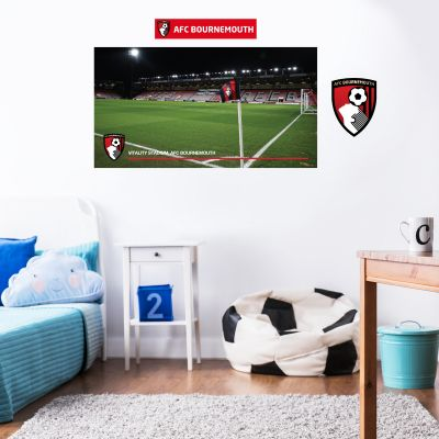 A.F.C Bournemouth - Vitality Stadium Corner Flag Wall Mural + Cherries Wall Sticker Set