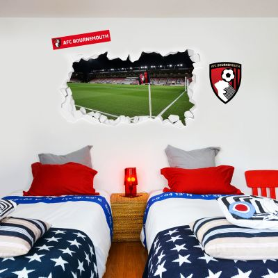 A.F.C Bournemouth - Smashed Vitality Stadium (Corner Flag View) Wall Mural + Cherries Wall Sticker Set