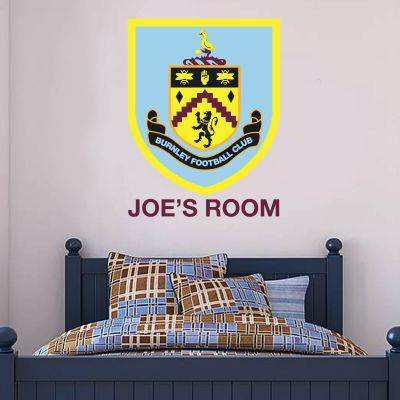 Burnley Football Club - Crest & Personalised Name Wall Art + Clarets Wall Sticker Set