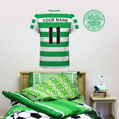 Celtic Football Club - Personalised Football Shirt Wall Sticker + Celtic Decal Set