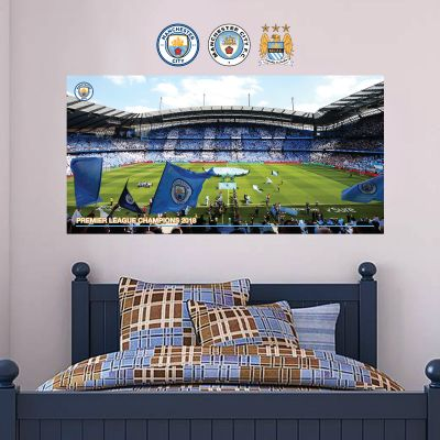 Premier League Champions 2018 - Etihad Stadium Mural (Side Shot) - Wall Sticker Set