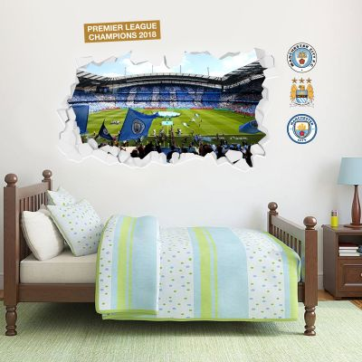 Premier League Champions 2018 - Smashed Etihad Stadium Mural (Side Shot) + Wall Stickers Set