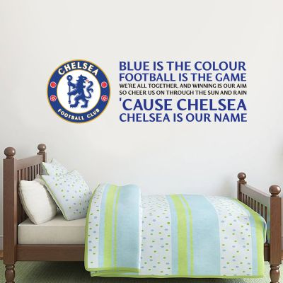 Chelsea Football Club - Crest & 'Blue Is The Colour' Song Wall Mural + Blues Wall Sticker Set