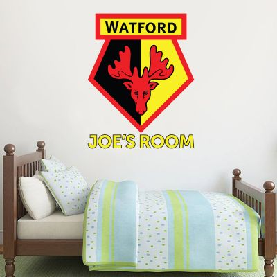 Watford FC - Personalised Name & Crest Wall Sticker