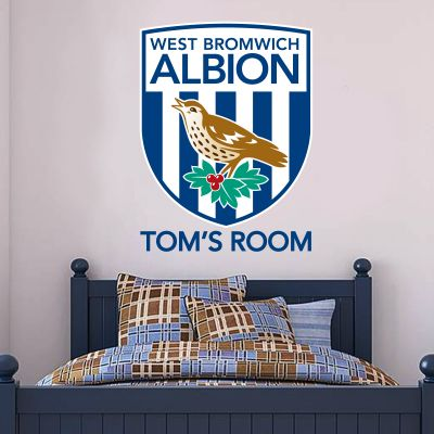 West Bromwich Albion Football Club Personalised Name & Crest Wall Sticker Vinyl
