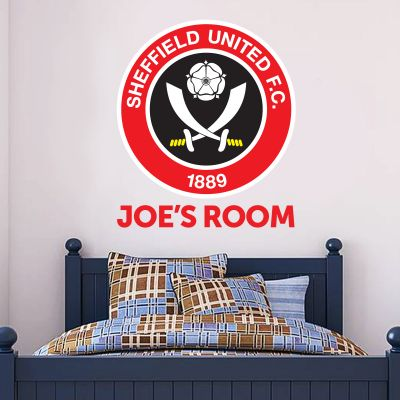 Sheffield United Personalised Name & Crest Wall Sticker + Official Wall Sticker Badge Set