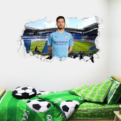 Manchester City Football Club - David Silva Smashed Wall Mural + Bonus Wall Sticker Set