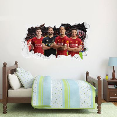 Liverpool Football Club Defensive Four Smashed Wall Mural + Badge Decal Set