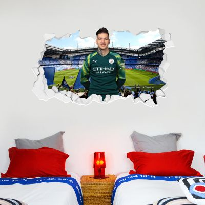 Manchester City Football Club - Ederson Smashed Wall Mural + Bonus Wall Sticker Set