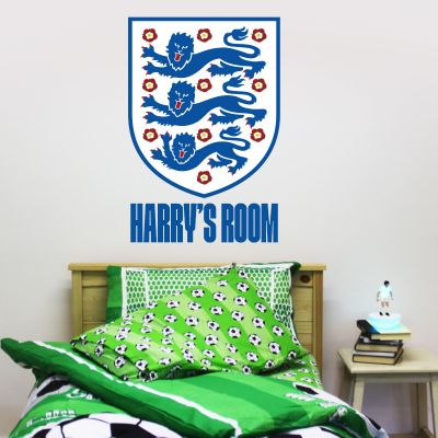 England Crest and Personalised Name Wall Sticker