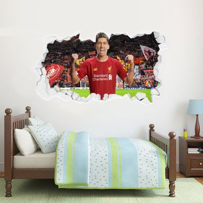 Liverpool Football Club Roberto Firmino Smashed Wall Mural + Badge Decal Set