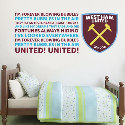 West Ham United Football Club Crest and Blowing Bubbles Song Wall Sticker Vinyl