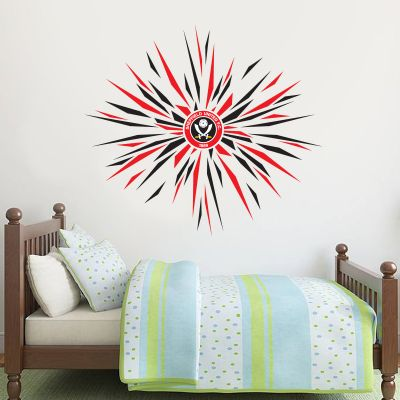 Sheffield United Crest & Full Spark Design Wall Sticker + Official Wall Sticker Badge Set