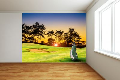 On The Green Sunset (Full Wall) Mural