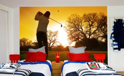 Golfer Sunset (Full Wall) Mural