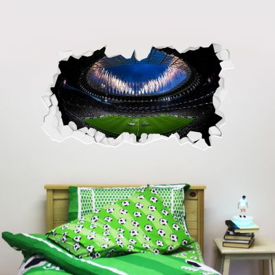 Tottenham Hotspur Football Club - Stadium Broken Wall Mural (Inside Fireworks) + Spurs Wall Sticker Set