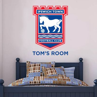Ipswich Town F.C. - Crest & Personalised Name + Blues Wall Sticker Set