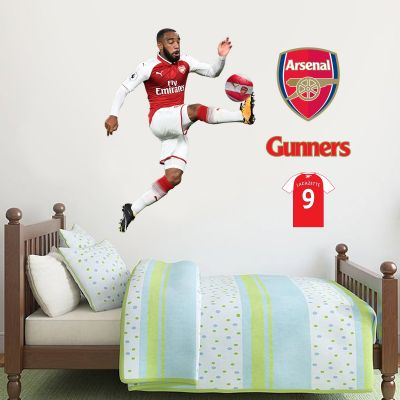 Alexandre Lacazette Player Mural & Arsenal Football Club Wall Sticker Set