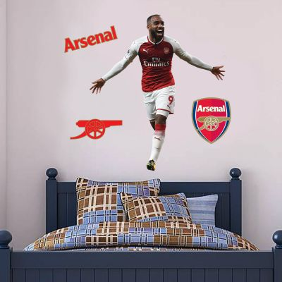 Arsenal FC - Alexandre Lacazette Goal Celebration Wall Mural + Gunners Wall Sticker Set