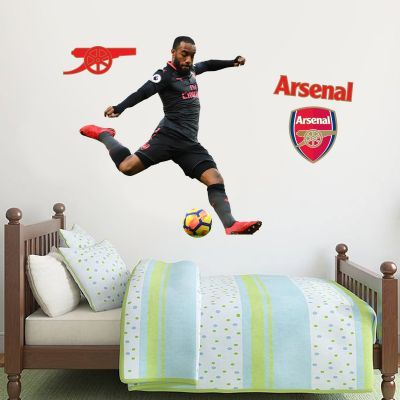 Arsenal FC - Alexandre Lacazette Shooting Wall Mural + Gunners Wall Sticker Set