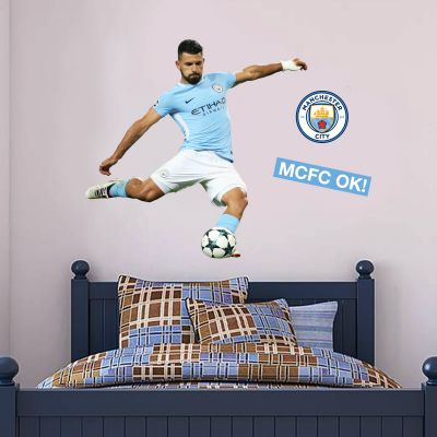 Manchester City FC - Sergio Aguero Shooting 2018 Player Decal + Bonus Wall Sticker Set