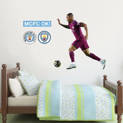 Manchester City FC - Gabriel Jesus Shooting 2018 Player Decal + Bonus Wall Sticker Set