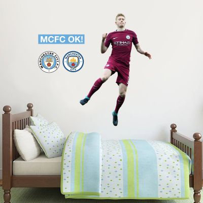 Manchester City FC - Kevin De Bruyne Celebration 2018 Player Decal + Bonus Wall Sticker Set