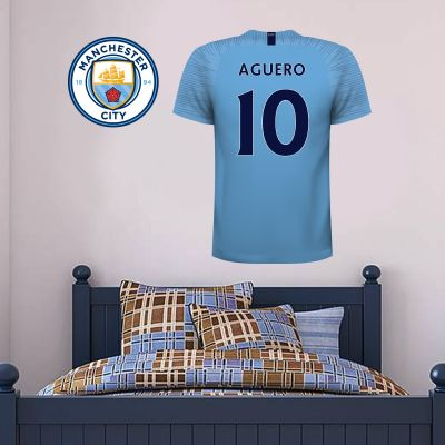 Manchester City Football Club - Personalised Football Shirt Wall Sticker + Man City Crest Set