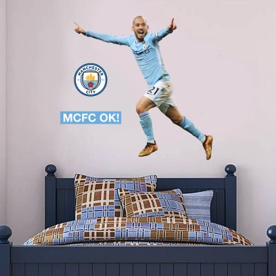 Manchester City FC - David Silva Goal Celebration 2018 Player Decal + Wall Sticker Set
