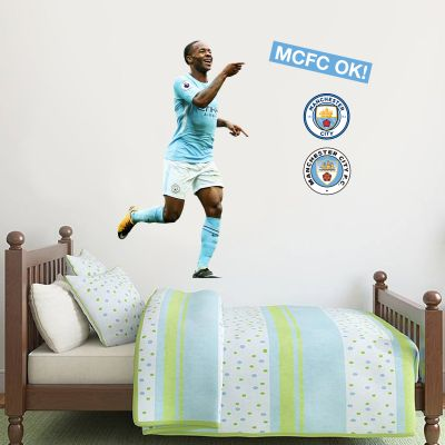 Manchester City FC - Raheem Sterling Goal Celebration 2018 Player Decal + Wall Sticker Set