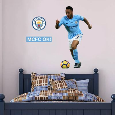 Manchester City FC - Raheem Sterling 2018 Player Decal + Wall Sticker Set