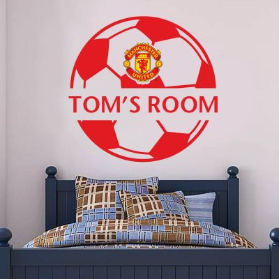 Manchester United F.C. - Personalised Name & Ball Design Wall Sticker