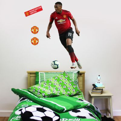 Manchester United F.C. - Anthony Martial Running Player Decal + Bonus Wall Sticker Set
