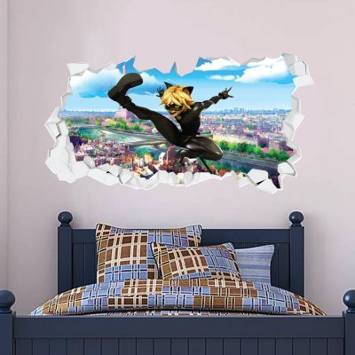 Miraculous - Cat Noir Broken Wall Paris Wall Sticker