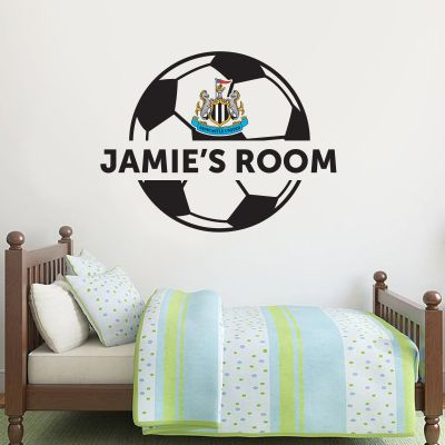 Newcastle United Football Club - Personalised Ball Crest and Name Mural + Toons Wall Sticker Set