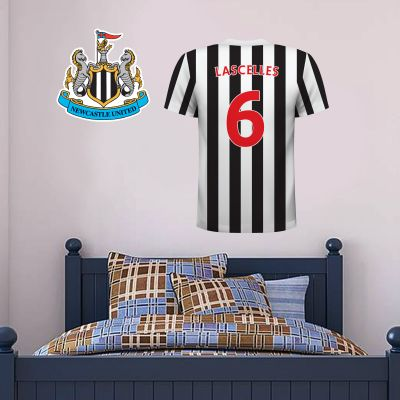 Newcastle United Football Club - Personalised Football Shirt Wall Sticker + Newcastle United Crest Set
