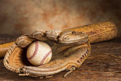 Old Baseball Glove, Bat & Ball Wall Mural