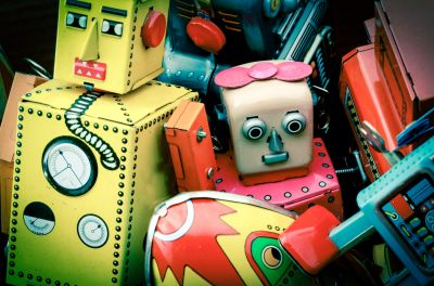 Vintage Robot Toys Wall Mural