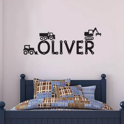 Diggers and Personalised Name Wall Sticker