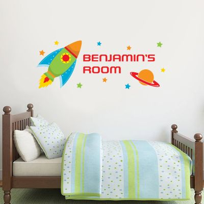 Rocket and Personalised Name Wall Sticker